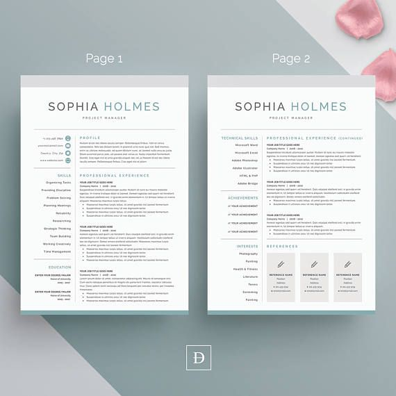 Resume Template 3 page CV Template Cover Letter for MS Resumes