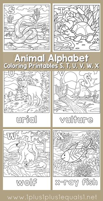 Animal Alphabet Coloring Printables S T U V W X Alphabet Coloring Pages Alphabet Coloring Animal Alphabet