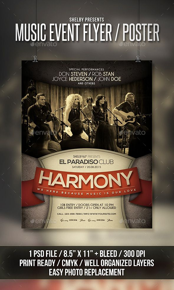 Music Event Flyer / Poster Event flyers, Event flyer templates and