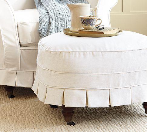 Love The Savannah Chair And Ottoman From Pottery Barn So Charming Ottoman Slipcover Ottoman Slipcovers