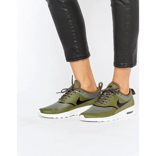 Nike Air Max Thea Trainers In Khaki (510 ILS) ❤ liked on Polyvore featuring shoes, sneakers, green, khaki shoes, green shoes, nike sneakers, laced sneakers and laced up shoes