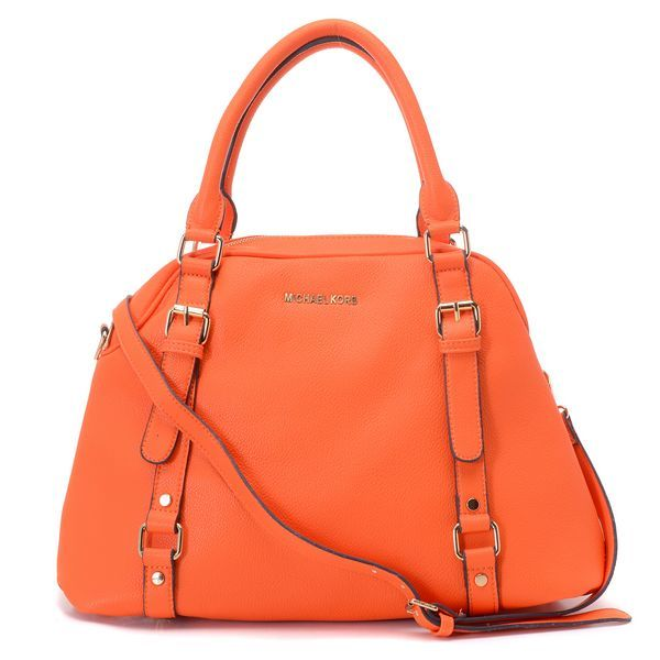 7a6654c3f8ff2f Michael Kors Bedford Large Bowling Satchel Burnt Tangerine: * Tangerine  leather. * Golden hardware. * Top handles with square rings; buckled straps  down ...