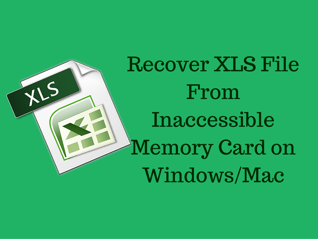Recover Xls File From Inaccessible Memory Card On Windows