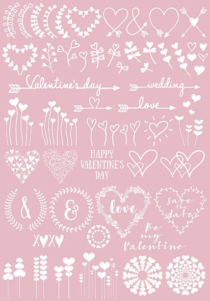 Floral heart designs for Valentines day, wedding, new baby, set of…