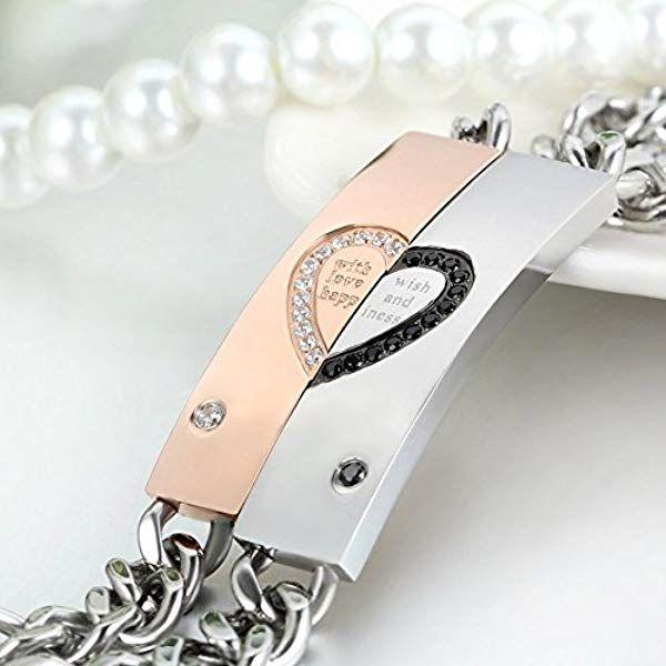 8d6c7aa6f03d JewelryWe 2pcs Pulseras Plateadas de Parejas Enamorados Eres Mi Corazón  Pulseras de Corazón Hombre Mujer Acero