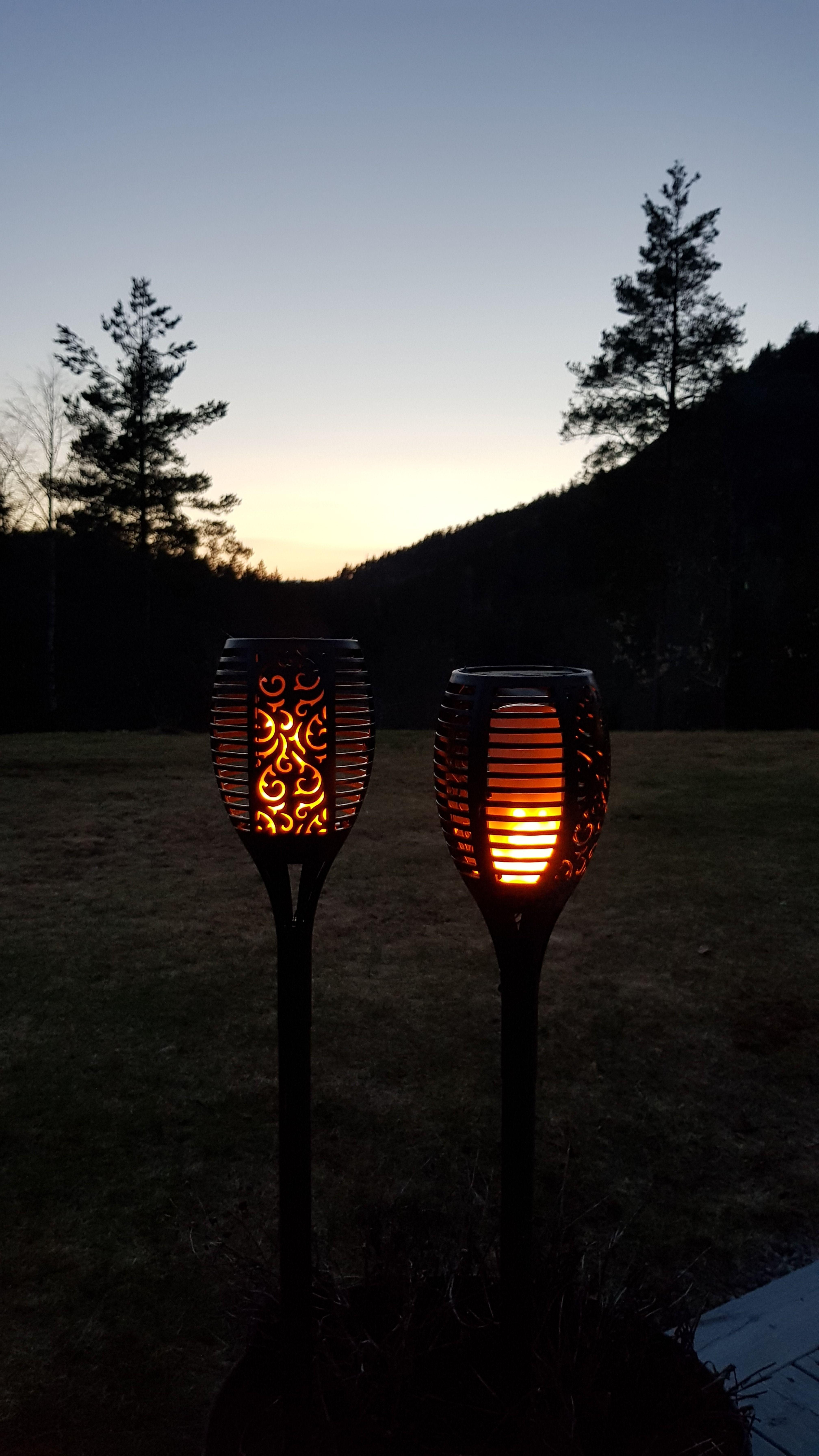 Flamme fakkel LED m solcelle | Lysslynger, Utendørs, Uteområde