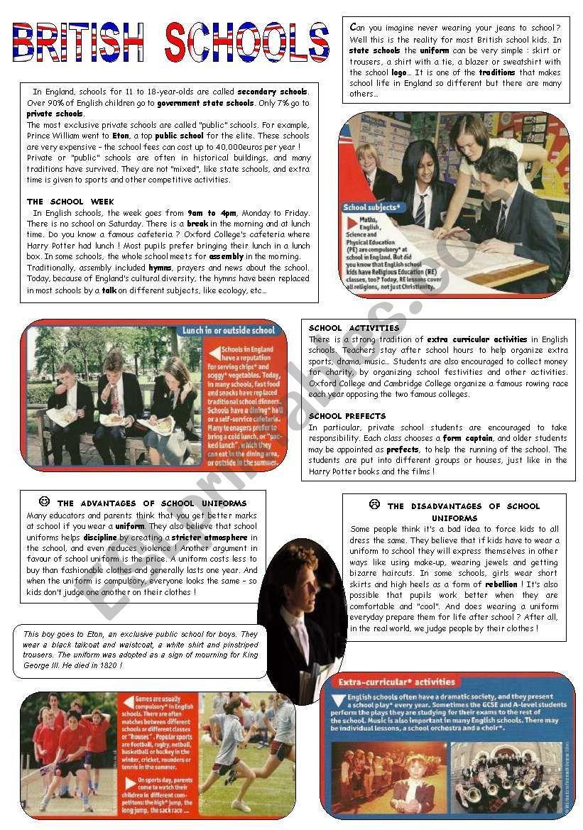 British Schools Worksheet British Schools British Education System Reading Comprehension English reading exercises british