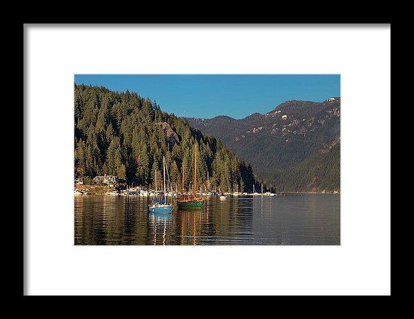 Alex Lyubar Framed Print featuring the photograph Marina At A Coastal Village by Alex Lyubar #AlexLyubarFineArtPhotography #VancouverCanada#NorthVancouver#Harbor#DeepCove#CoastalVillage#Marina#SailingYachts#ArtForHome#HomeDecor#FineArtForSale