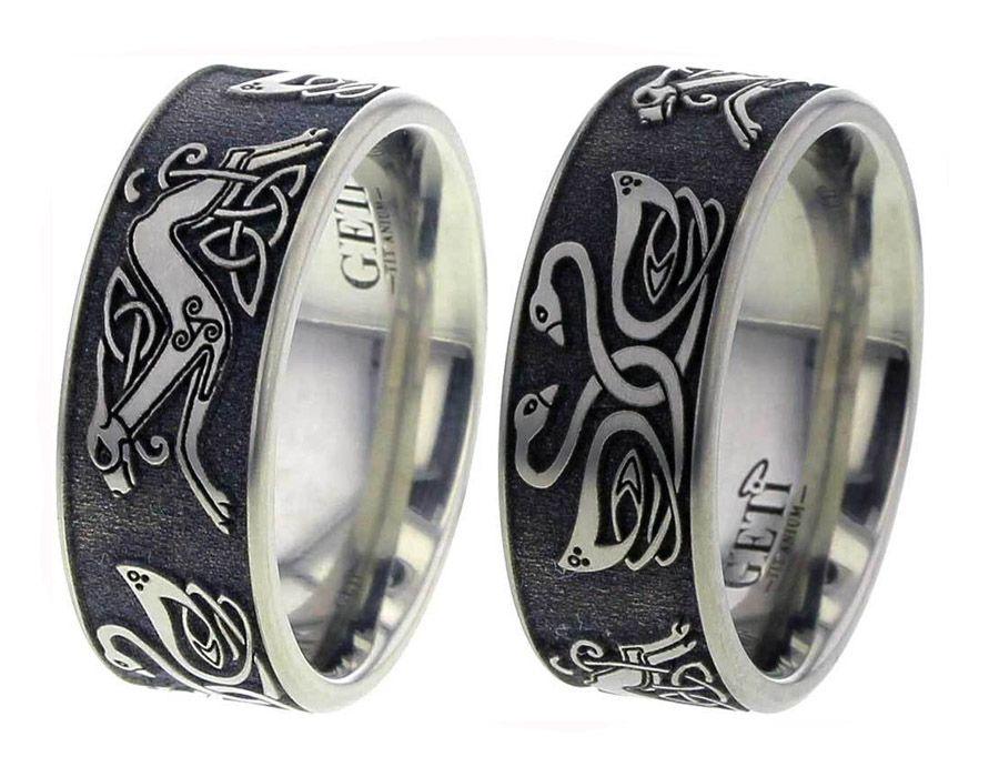 Celtic swan celtic hound titanium wedding ring unique