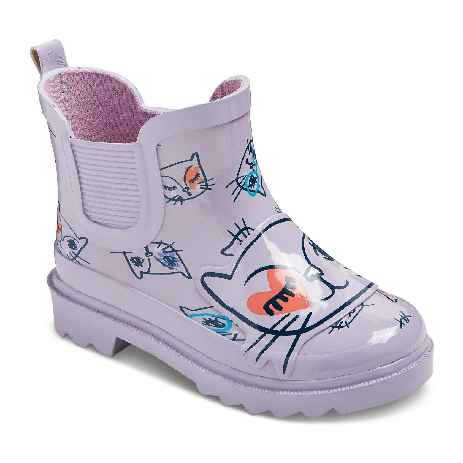 Cat & Jack Toddler Girls Bebe Kitty Printed Rain Boots Purple