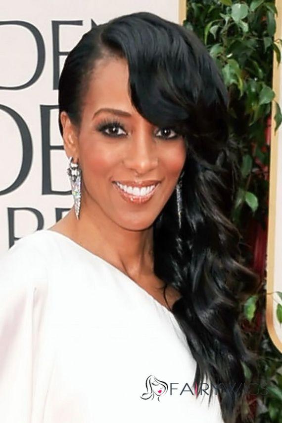 Modern Long Wavy Black African American Lace Wigs For Women Hair