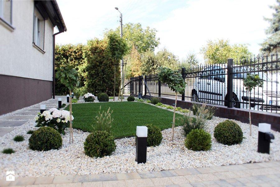 Aranżacje Wnętrz Ogród Elegancki Ogród Przed Domem średni Ogród