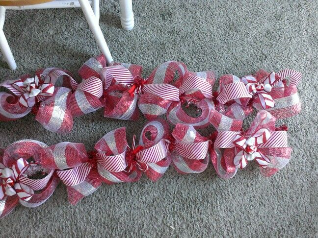 Red and silver candy themed deco mesh garland