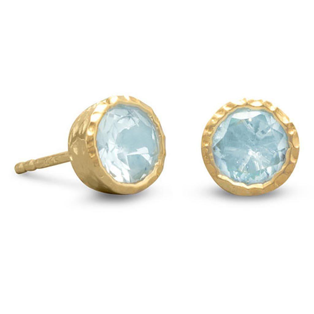 14 Karat Gold Silver Blue Topaz Stud Earrings