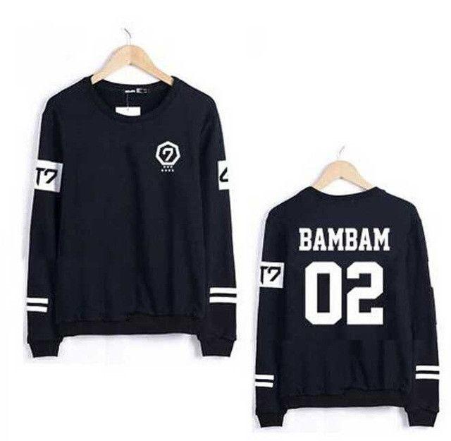 2015 new arrival got7 got 7 spring autumn o neck hoodie member names print black sweatshirt jackson mark bambam sudaderas mujer