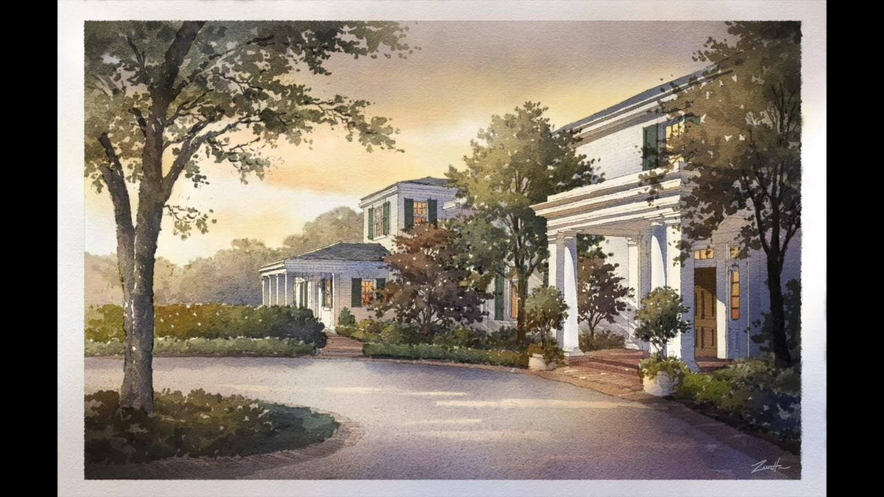 Digital Watercolor of a Single Family home. Design by Appleton & Associates