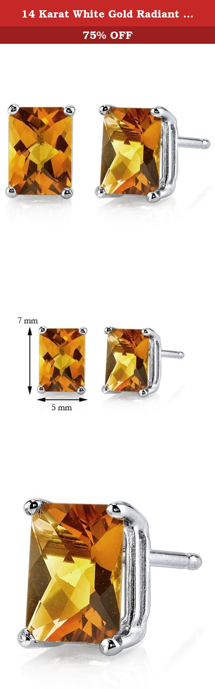 14 Karat White Gold Radiant Cut 1.75 Carats Citrine Stud Earrings. Gemstones: 2 pieces Genuine Citrine, Radiant Cut, 7 x 5 mm, 1.67 carats, Golden Pumpkin Orange Hue with Brilliant Sparkle. Earrings: 1.03 grams pure 14k White Gold with 14k stamp. Earrings feature exceptional Design, Craftsmanship and finishing. Perfect gift for Mothers Day, Birthdays, Valentines Day, Graduation, Christmas or just about any other occasion. Money Back Guarantee. Includes a Signature Gift Box. Style E18578.