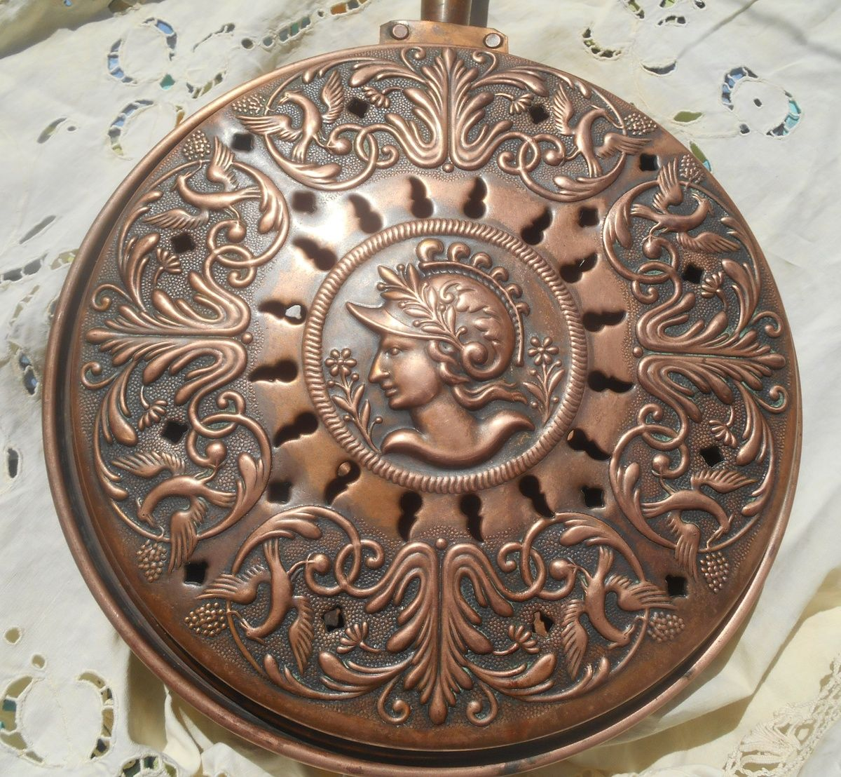 19th Century Copper Bed Warmer Antique Medallion French Villedieu ...