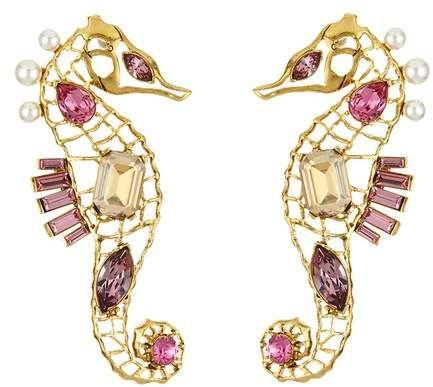 seahorse crystal brooch - Metallic Oscar De La Renta HaHvRSYw