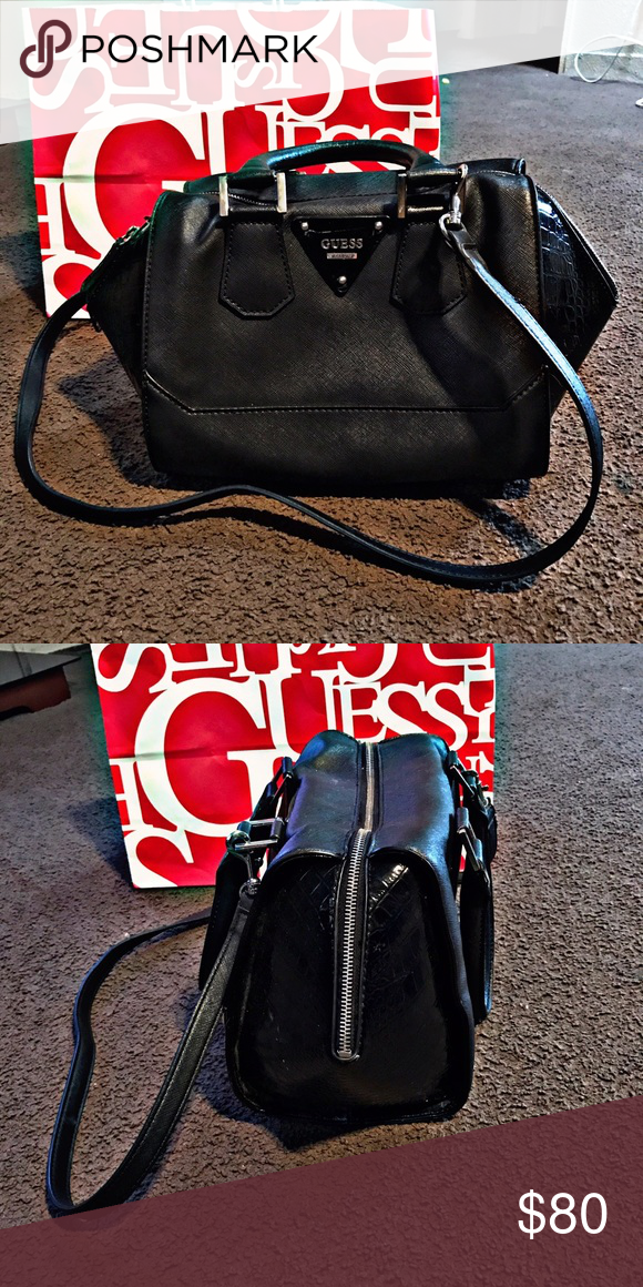 Black guess purse Nice elegant guess handbag with side crockskin hit me up with offers Guess Bags Shoulder Bags