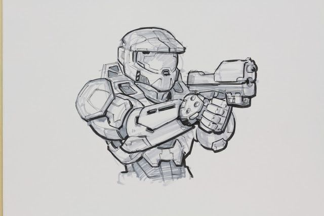 Halo 3 Master Chief Drawing Halo Halo Drawings Halo