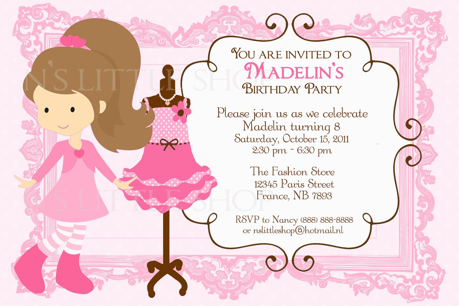 Girl Fashion Party invitation card customize printable 1000