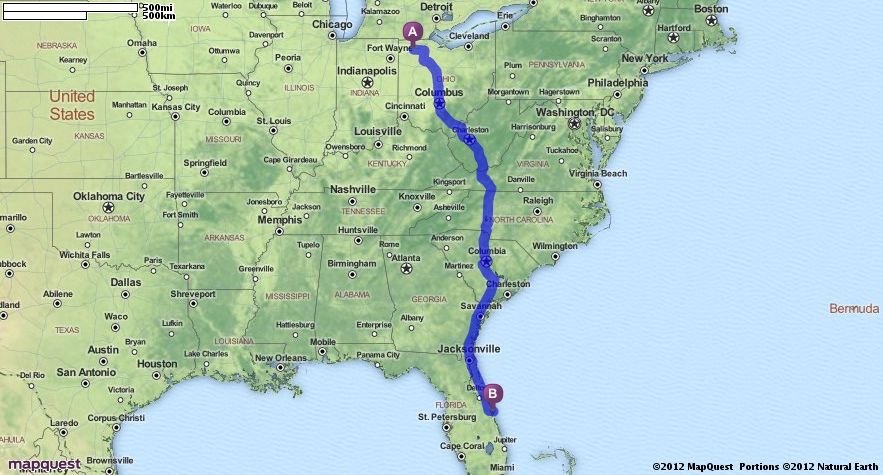 Ohio To Florida Map | Danielrossi Driving Map Of Ohio on