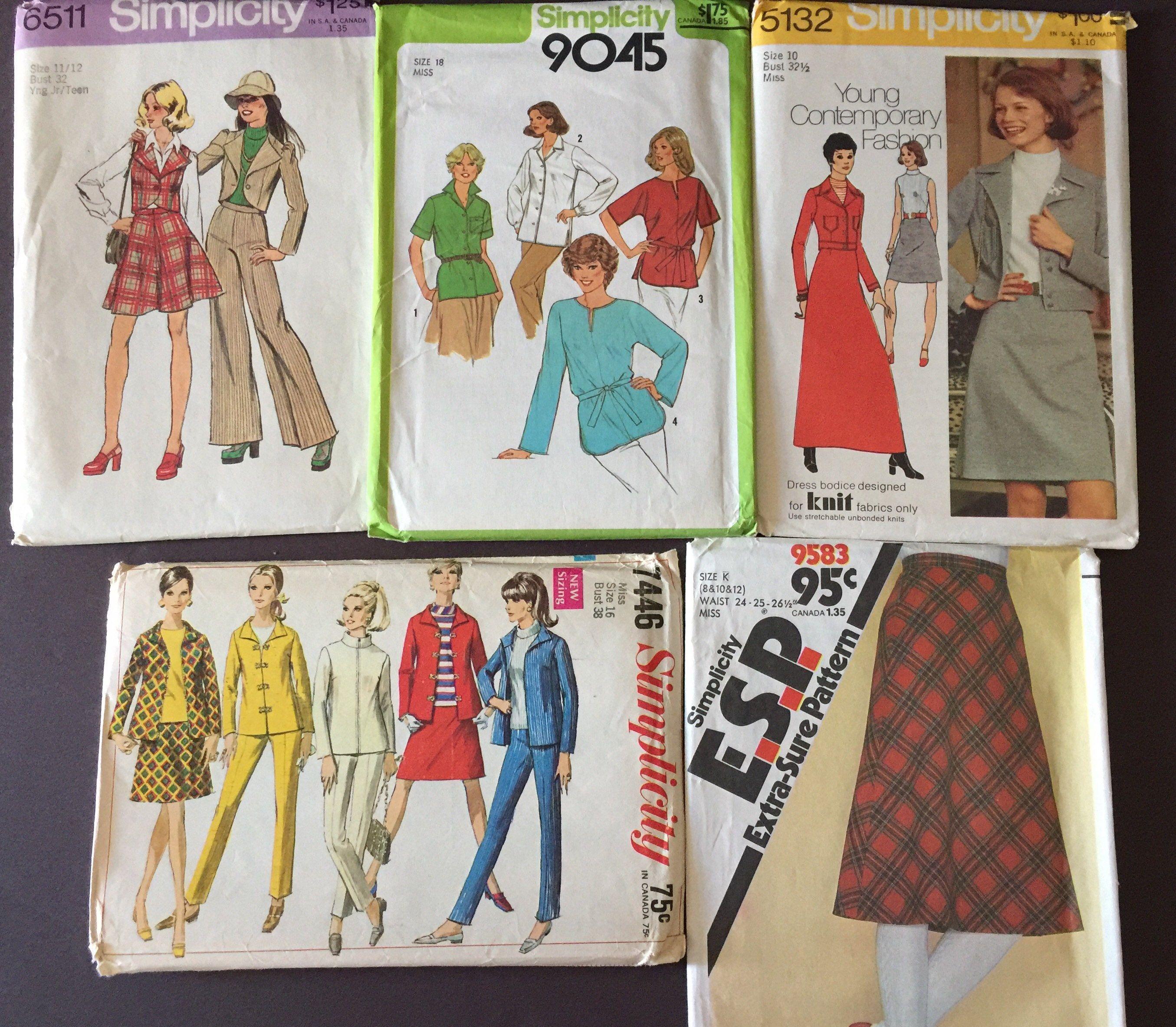 ff5ec64daf7c3 Vintage simplicity pattern, lot 5, size 8, 18, skirt, contemporary ...