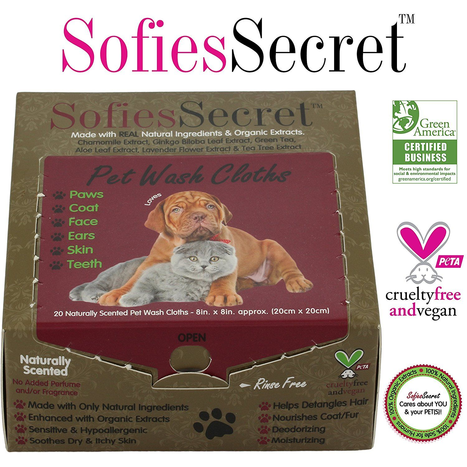 SofiesSecret Pet Wipes Dogs Cats ALL PURPOSE, 20 Count