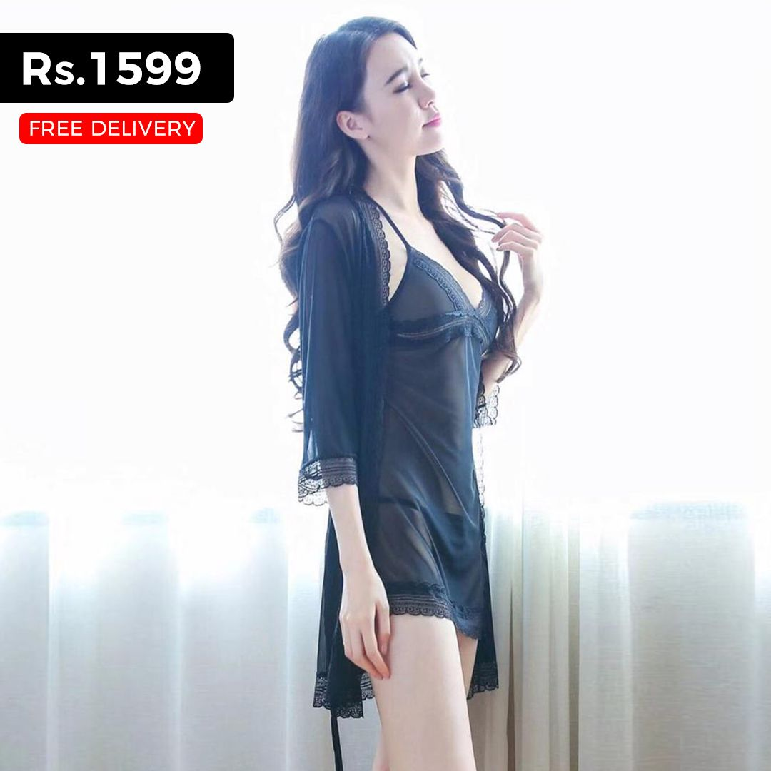 Sexy Black Nighty with Gown- Women Sleepwear for Rs.1599 at Lootlo ... d6dedd8c9