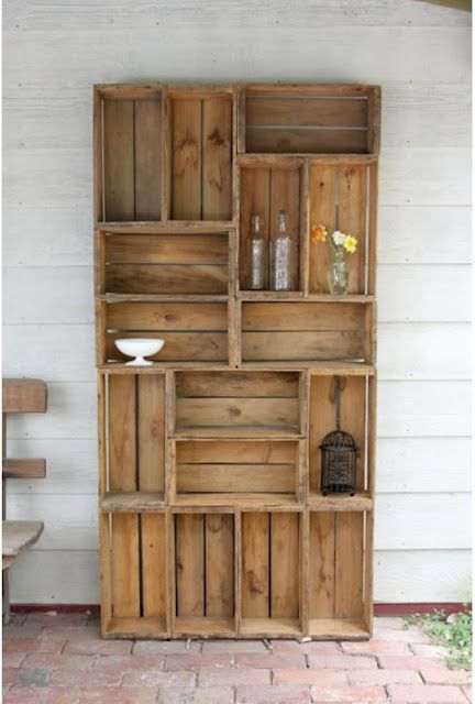 Reusing Old Crates for a Rustic Bookshelf
