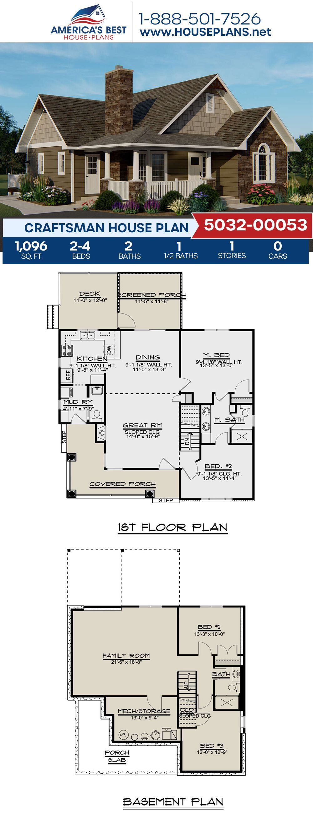 House Plan 5032 00053 Craftsman Plan 1 096 Square Feet 2 Bedrooms 2 5 Bathrooms Beach House Floor Plans Craftsman House House Plans Farmhouse