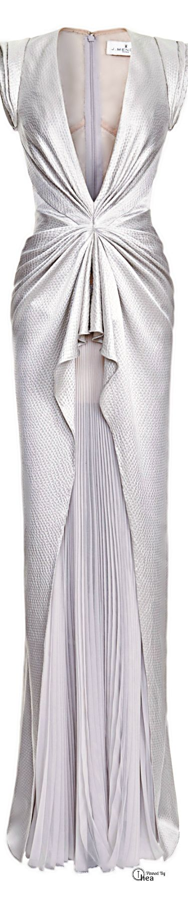 Father God...........J. Mendel Sleeveless V-Neck Gown with Pleated Skirt in Gray...