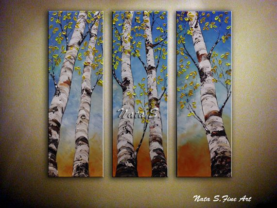 birch tree painting triptych wall art tall tree painting colorful art palette knife. Black Bedroom Furniture Sets. Home Design Ideas
