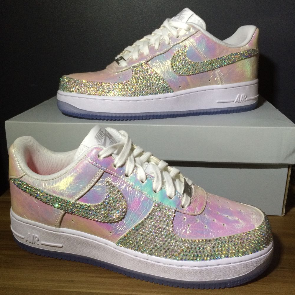 on sale 8c63a 5e9dc BRAND NEW   Iridescent Nike Air Force Ones With Custom Crystals   UK 5.5