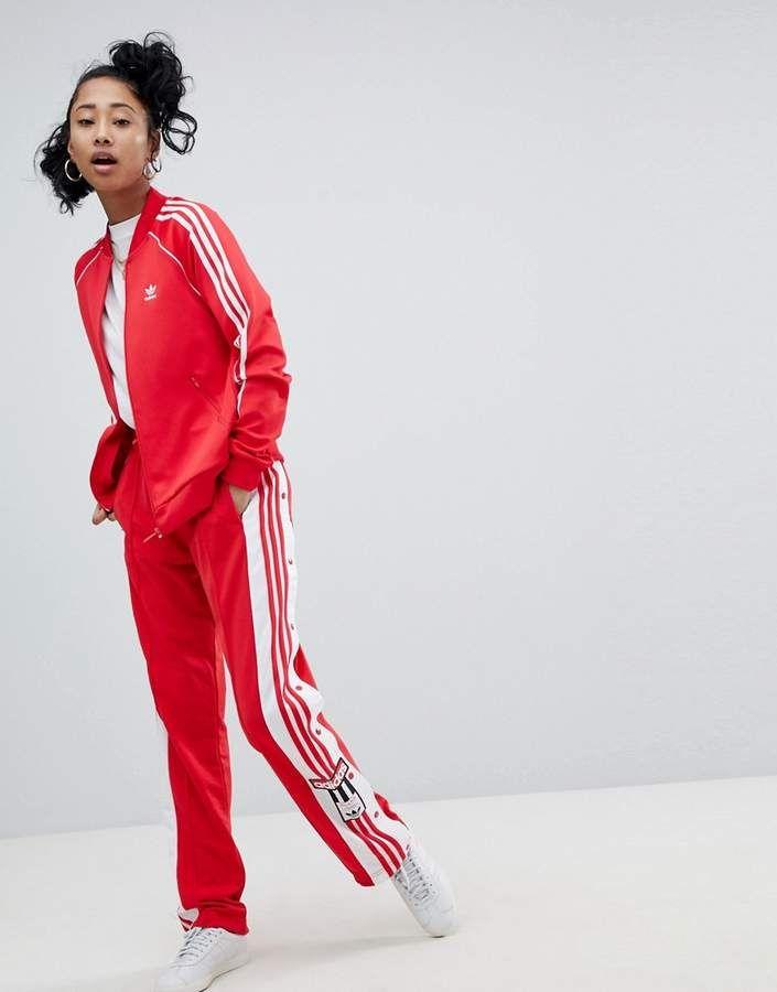 adidas Originals adicolor Adibreak Popper Pants In Red ...