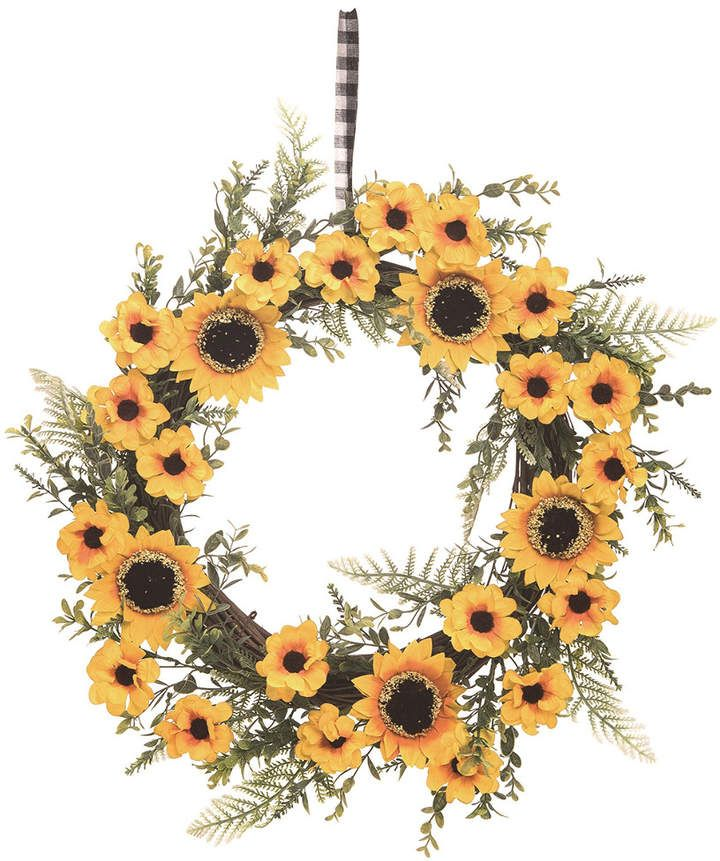 Photo of Transpac Wood 21In Yellow Spring Faux Sunflower Wreath