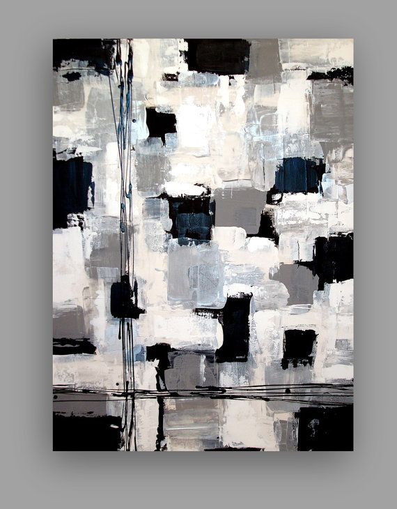 Black And White Acrylic Abstract Painting Abstract