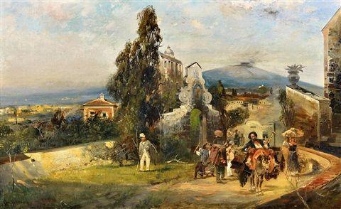 Reisegesellschaft vor Neapel von Oswald Achenbach