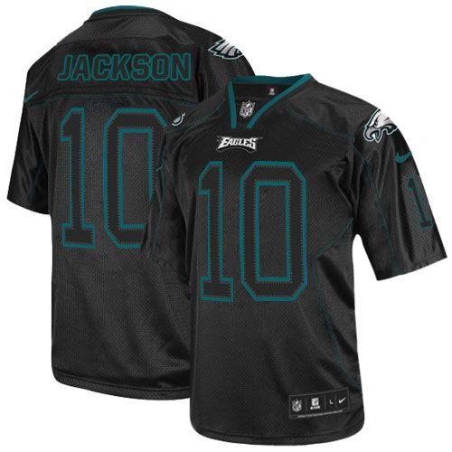 mens nike philadelphia eagles 10 desean jackson elite lights out black jersey 129.99