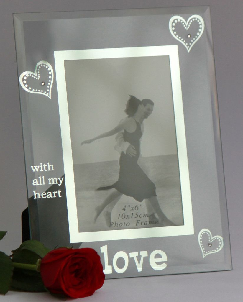 Photo Frame Glass 4x6 Inch 10x15 Cm Love With All My Heart Frame Photo Frame Glass Theme