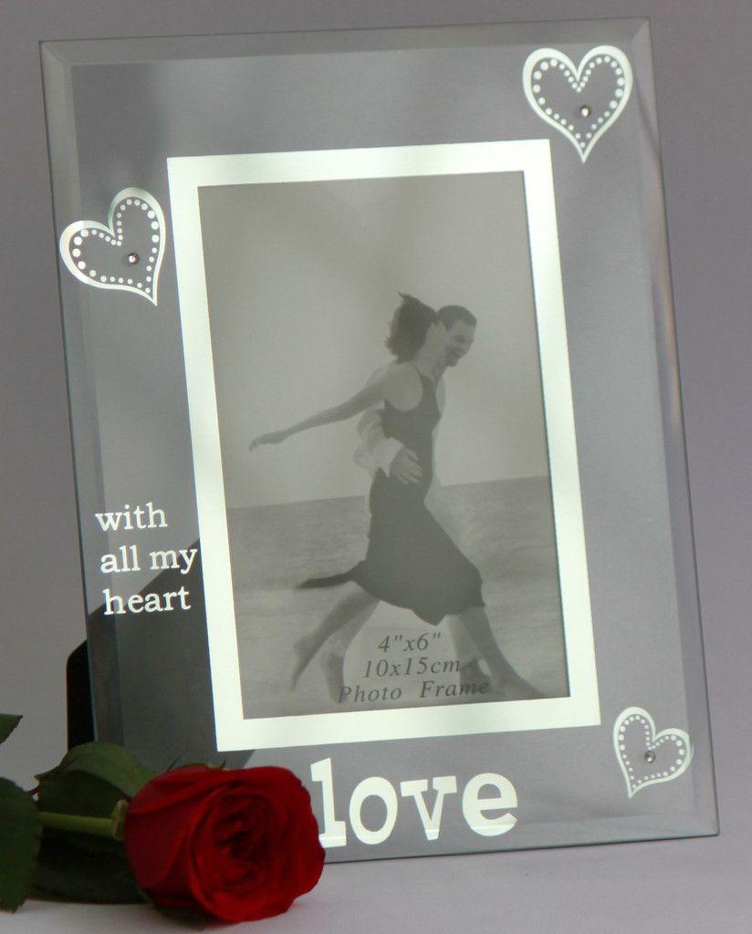 Photo Frame Glass 4x6 Inch 10x15 Cm Love With All My Heart Frame Photo Frame Glass Theme