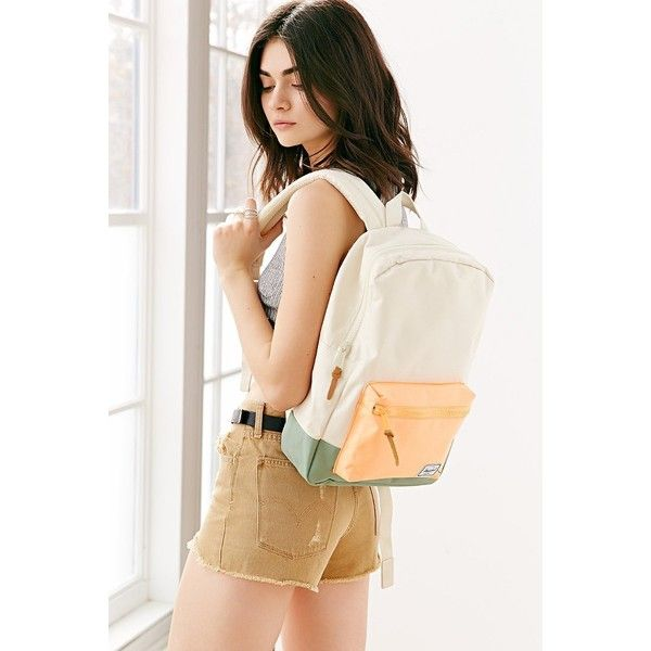 Herschel Supply Co. Settlement Backpack ($55) ❤ liked on Polyvore featuring bags, backpacks, ivory, vintage style backpacks, leather zip backpack, zipper bag, zip bags and genuine leather backpack