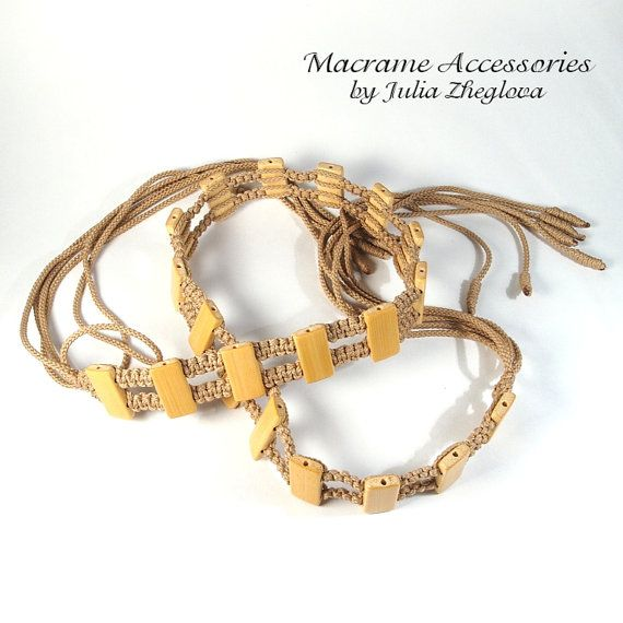 Macrame Beige Belt with tassels and bamboo beads lace by makrame, $20.00