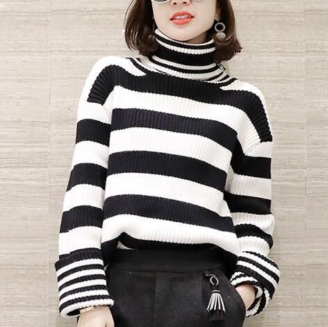Black and white striped tops for women turtleneck sweater | Womens ...