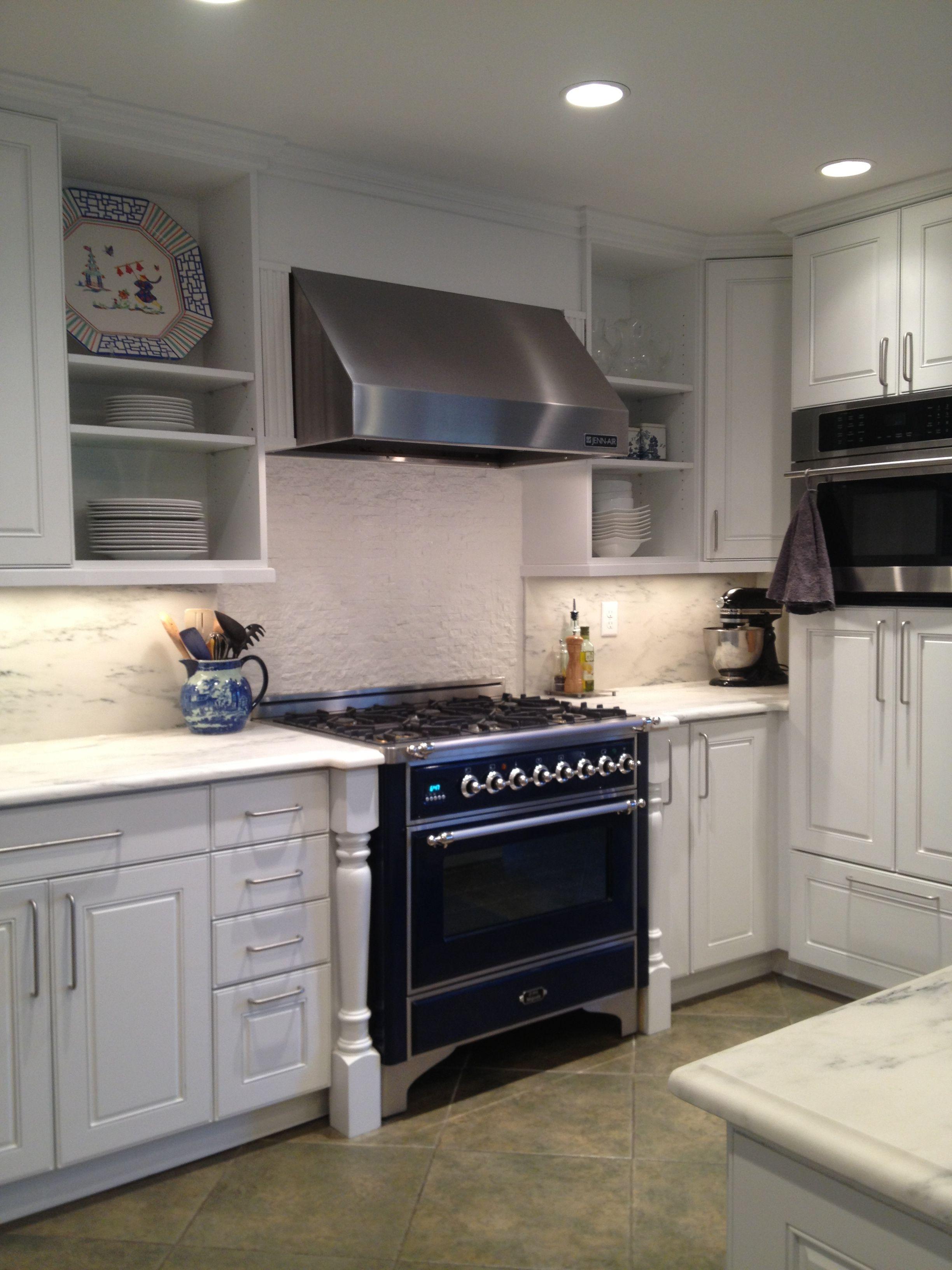 Kitchen Remodel White Marble Countertops Stone Backsplash Blue Ilve Range Kitchen Remodel Design Kitchen Design Decor Small Kitchen Decor