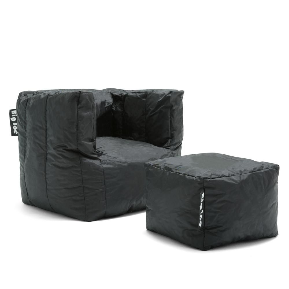 Outstanding Big Joe Cube Chair With Ottoman Stretch Limo Black Smartmax Evergreenethics Interior Chair Design Evergreenethicsorg