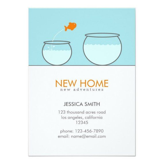 Cute Fish New Home Funny Announcement Card | Moving