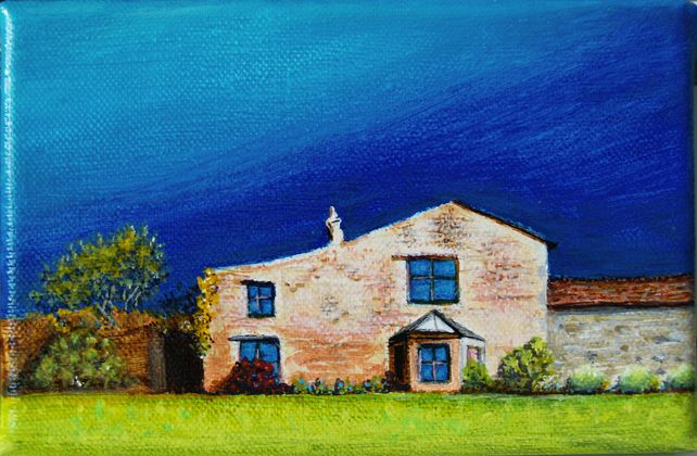 Lovely Cottage From The Dales, small original artwork on tiny canvas, gift idea £60.00