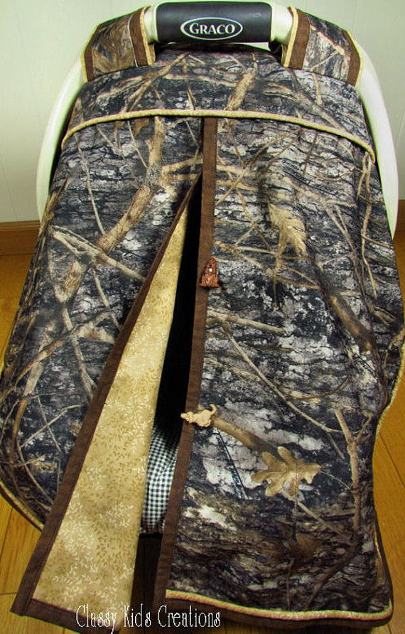 Camo Car Seat Canopy In True Timber Camouflage And Tan Baby Carseat Canopy Infant Carseat